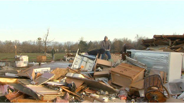 Tornado damage in Ava, Illinois.