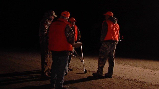 Hunters gathering before going to their hunting blinds