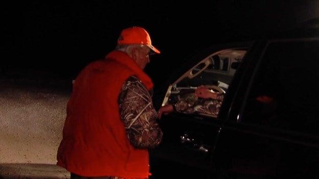 Bob Bush checking hunters in.