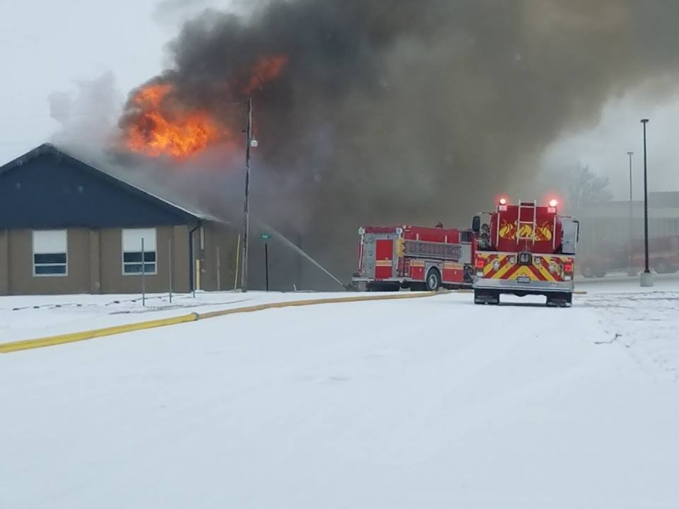Photo of Wayne City High School fire (Courtesy: Kendra Barnard)