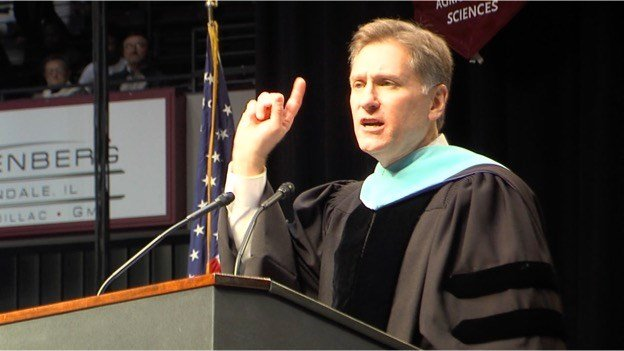 Dr. Randy Dunn, president of SIU, seen here delivering remarks during December's winter graduation ceremony in Carbondale
