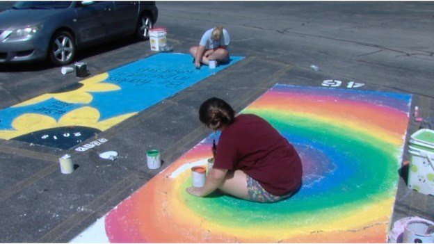 High Schoolers Paint Their Parking Spots For Behavioral Health P