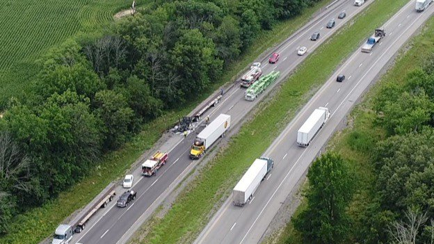 Above a crash on I-57.