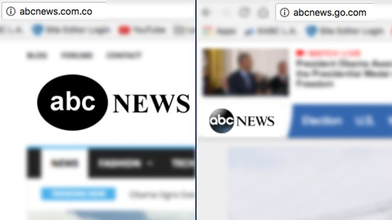 """Websites that end in """".com.co"""" are often fake versions of real news sources,"""" wrote Melissa Zimdars. (abcnews.go.com 