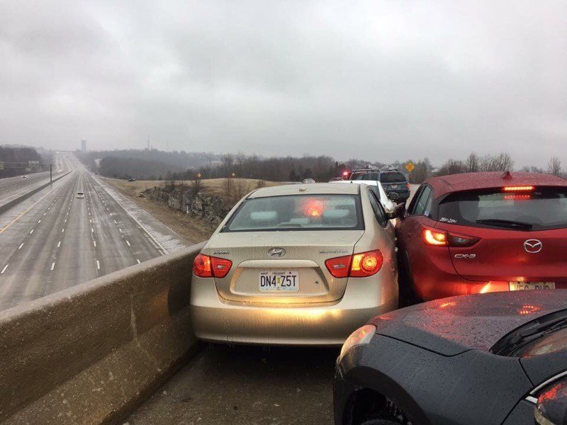 Exit ramp to Interstate 55 south of St. Louis. Photo Courtesy of KMOV-TV.