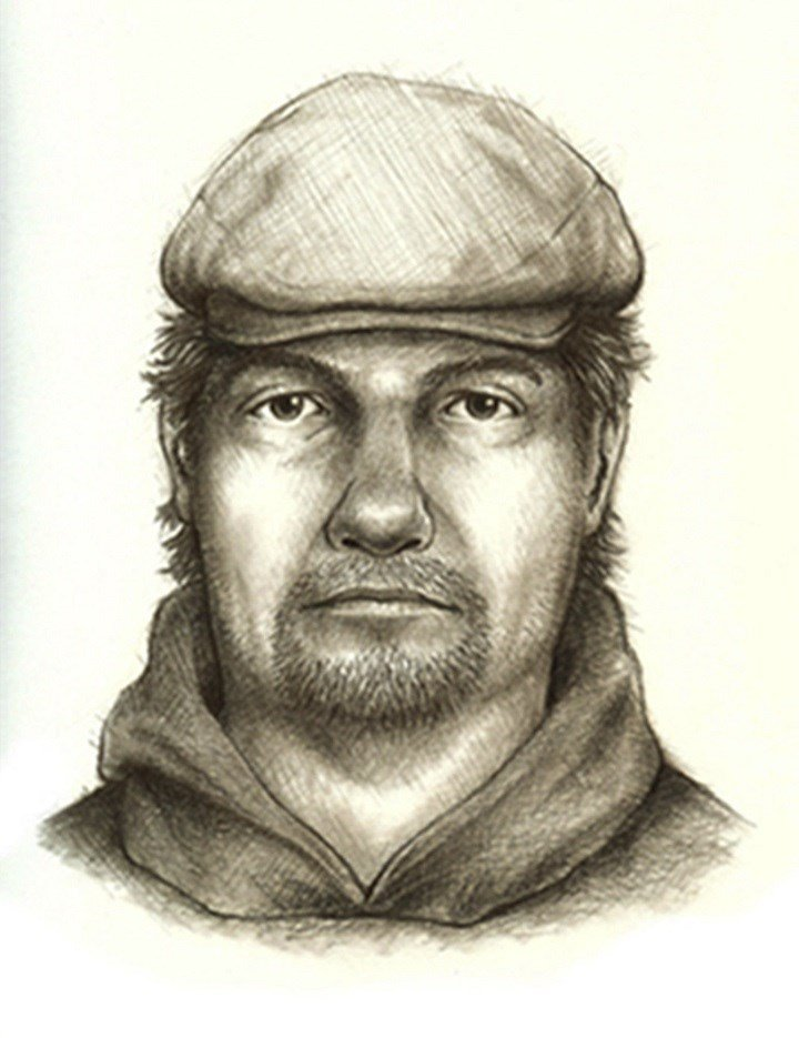FILE - This composite sketch released July 17, 2017, by the Indiana State Police shows the man they consider the main suspect in the killings of teenage girls Liberty German, and Abigail Williams who disappeared from a hiking trail near their hometown of