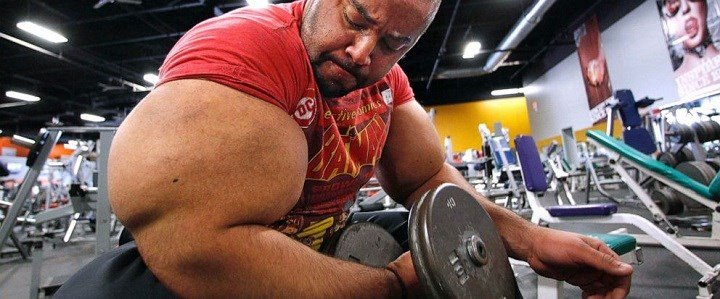 """In this Nov. 16, 2012, file photo, Egyptian body builder Moustafa Ismail lifts free weights during his daily workout in Milford, Mass. On Monday, April 22, 2019, Merriam-Webster added the definition of swole to it's online dictionary, with the meaning """"ex"""