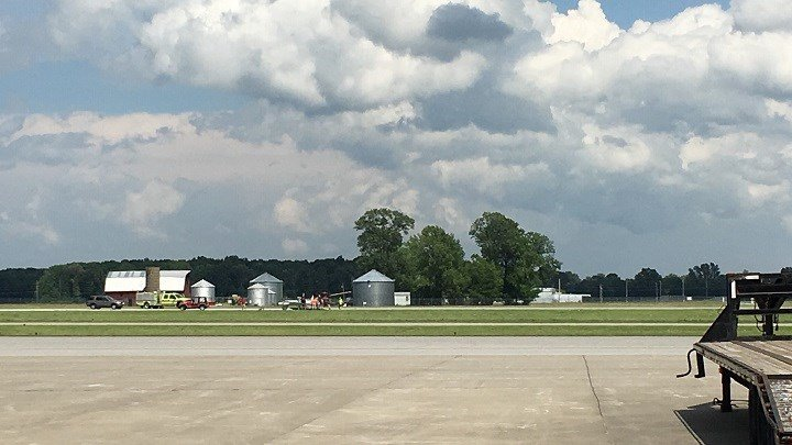 Two people were on board the plane. Airport management says they're okay.