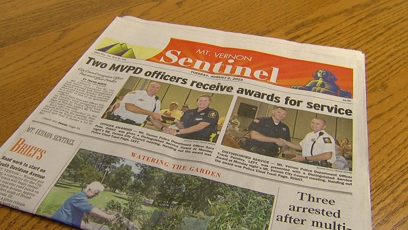 The officers were featured on the front page of the Mt. Vernon Sentinel