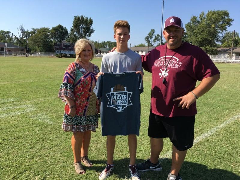 Week 3 WSIL-Banterra Player of the Week: Benton High School quarterback Keegan Glover pictured with Coach Justin Groves and Banterra representative Marla Glodich.