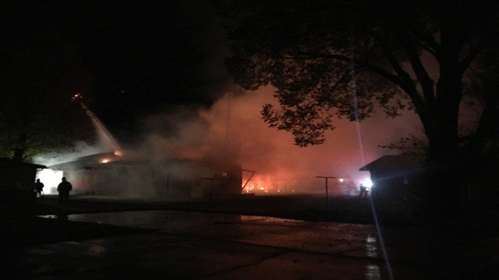 Crews work large fire in West Frankfort