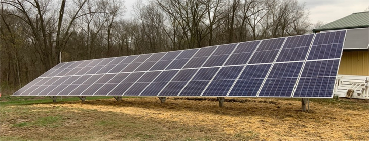 """Straight Up Solar"" panels set up in Chester, Ill."