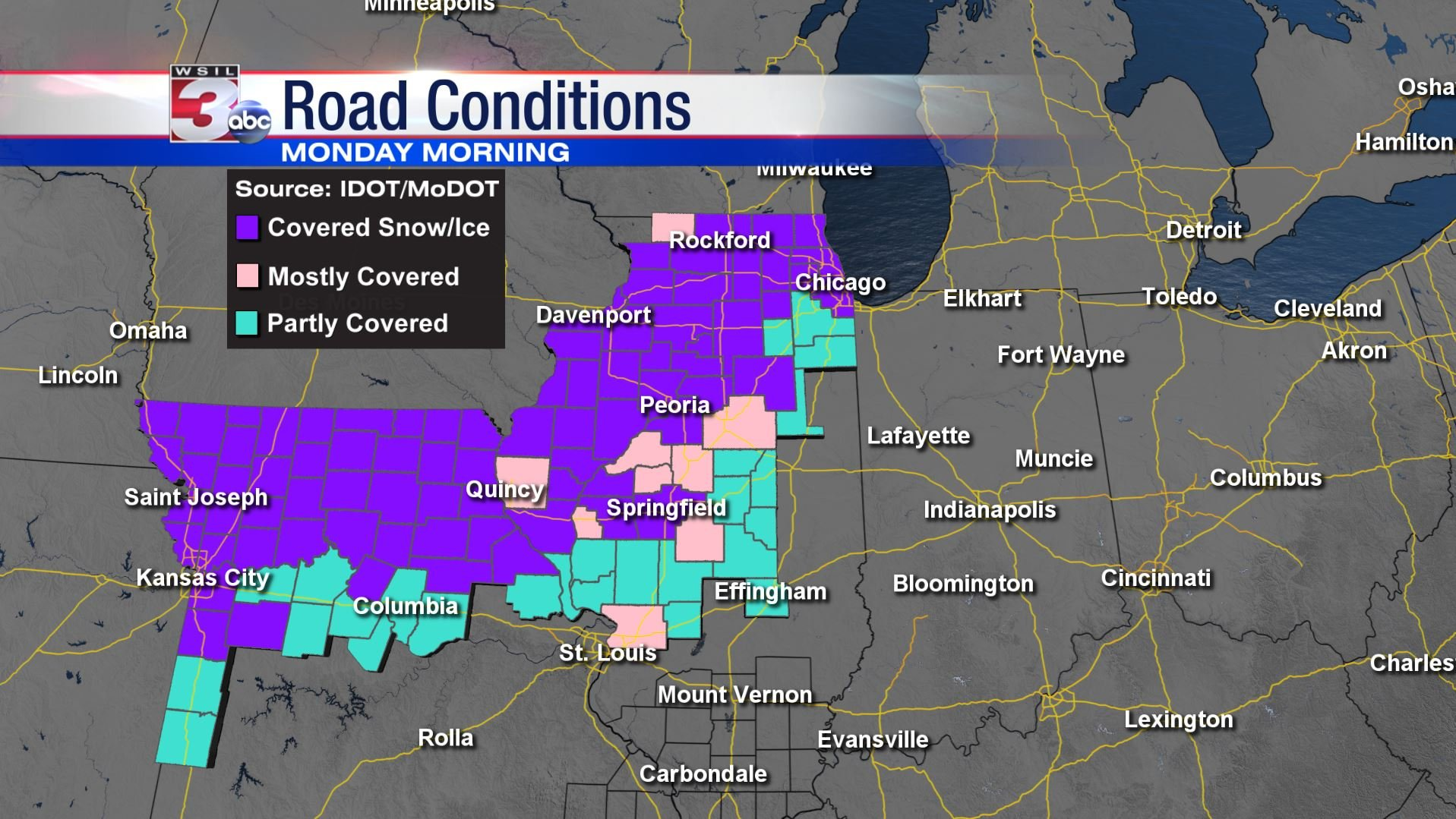 Illinois Road Conditions Map Latest Road Condition Maps: Illinois & Missouri   WSIL TV 3  Illinois Road Conditions Map