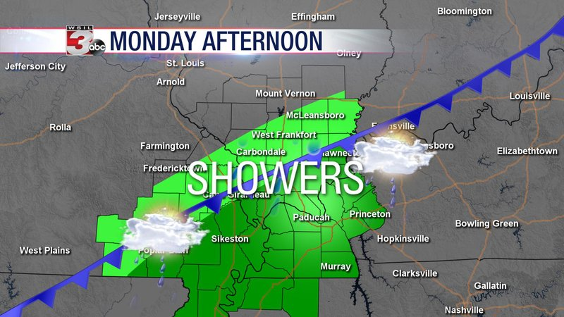 tered showers to start the week - WSIL-TV 3 Southern Illinois on u.s. route 40 map, u.s. route 50 map, illinois county map,